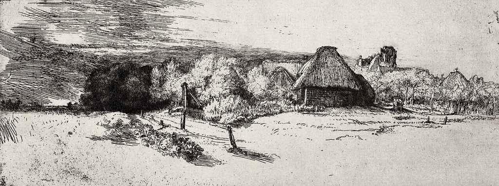 Рембрандт Ван Рейн. Пейзаж с башней