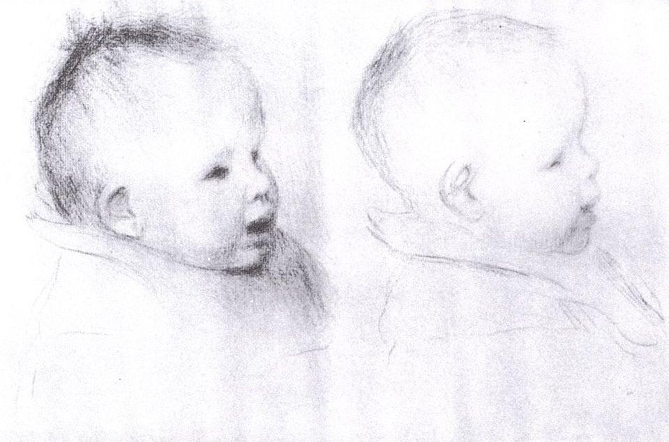 Pierre-Auguste Renoir. The baby's head