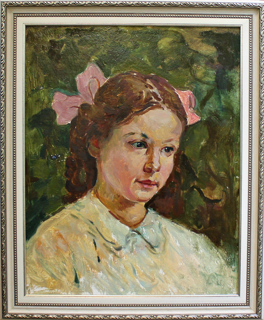 Petr Filippovich Alberti. Portrait of a girl with a pink bow