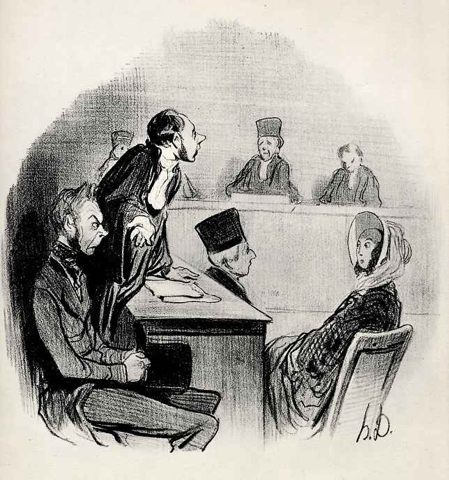 """Honore Daumier. Divorce: """"I'm so convincingly portrayed the guilt of the opposing party, that we are now lacking only evidence."""""""