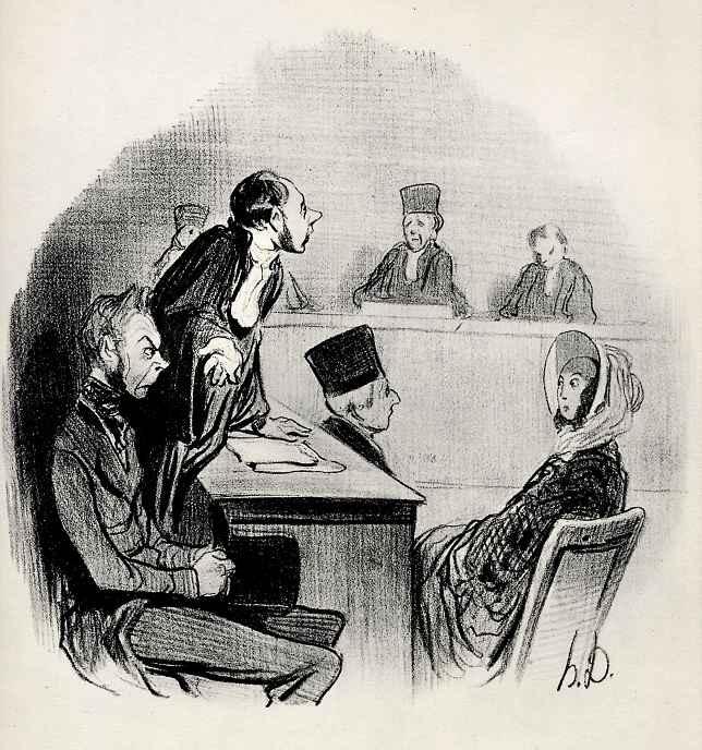 """Оноре Домье. Развод: """"Я так убедительно представил вину противной стороны, что нам теперь не хватает только доказательства."""""""