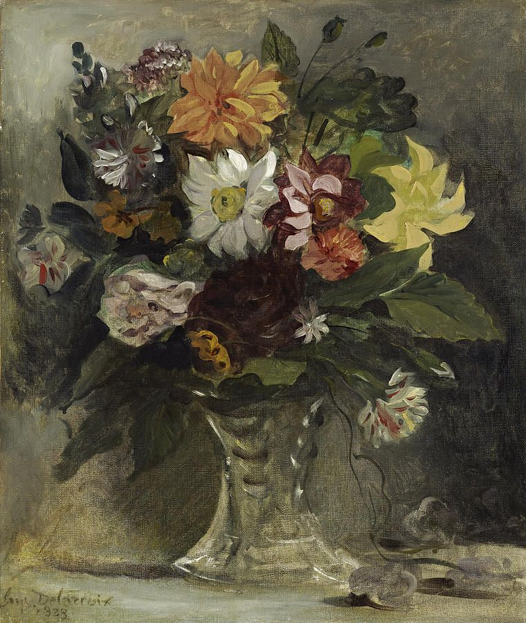 Eugene Delacroix. Vase with flowers