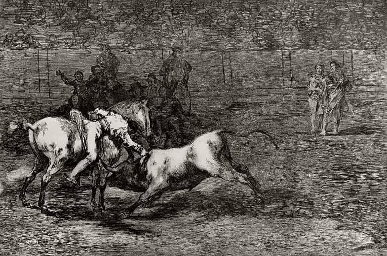 """Франсиско Гойя. Серия """"Тавромахия"""", лист 23: Мариано Себальос, по прозвищу Индеец, убивает быка с седла"""