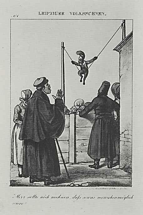 Адольф фон Менцель. Лейпцигские народные сценки, отдельный лист из юмористического журнала