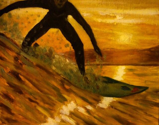 Lyudmila Nikolaevna Yevtushenko. Surfing at sunset