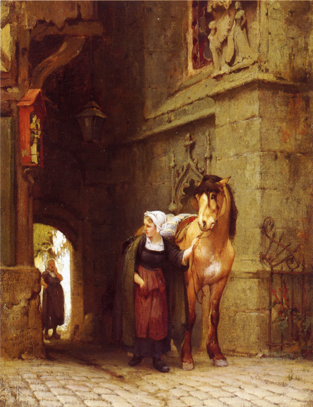 Frederick Arthur Bridgman. Leading the horses to the stables