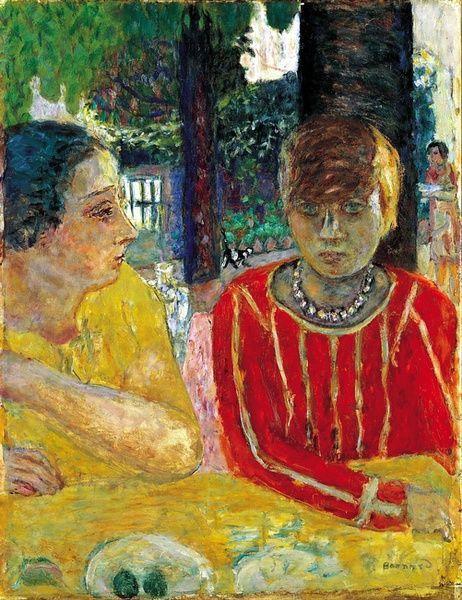 Pierre Bonnard. Mar in red blouse