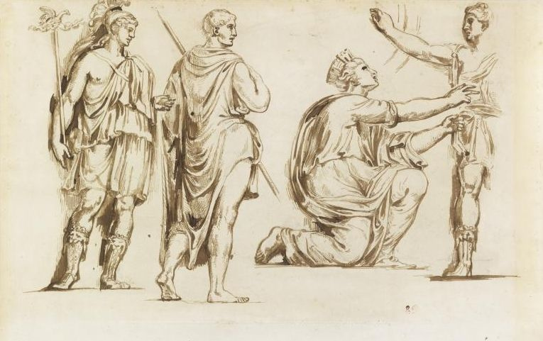 Eugene Delacroix. A sketch of ancient figures