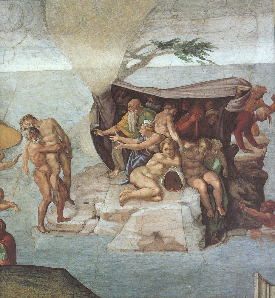 Микеланджело Буонарроти. Потолок Сикстинской капеллы. Бытие. История Ноя. Потоп. Вид справа.