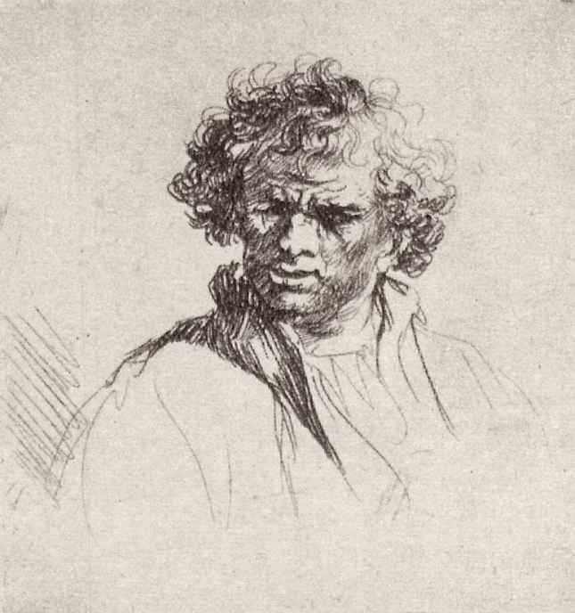 Рембрандт Ван Рейн. Голова молодого мужчины с полуоткрытым ртом