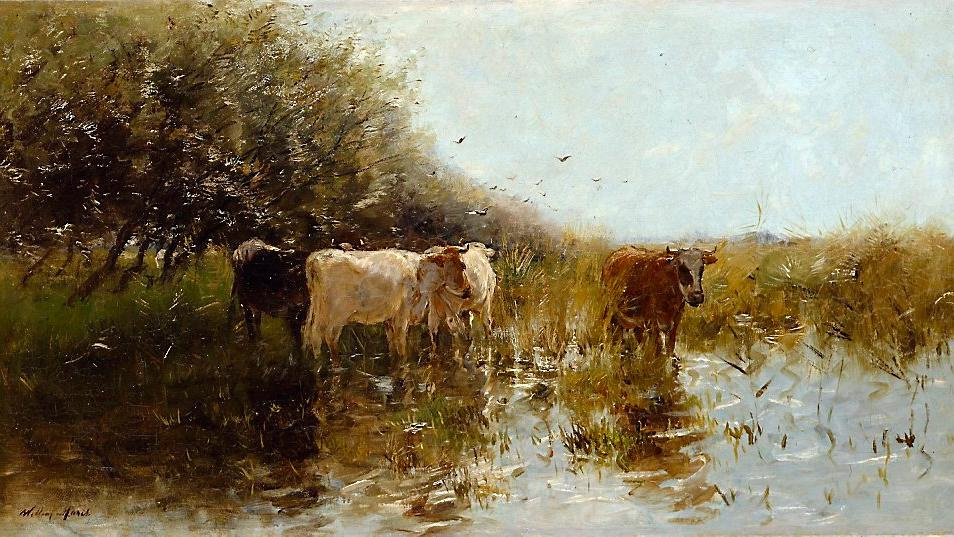 Willem Maris. Cows in the Reeds