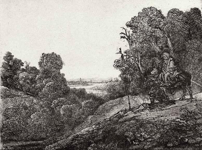 """Рембрандт Харменс ван Рейн. Так называемое """"Большое бегство в Египет"""""""