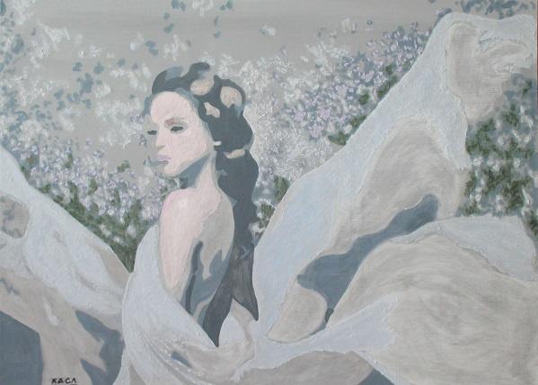 Catherine Slyunin. In the lilac garden