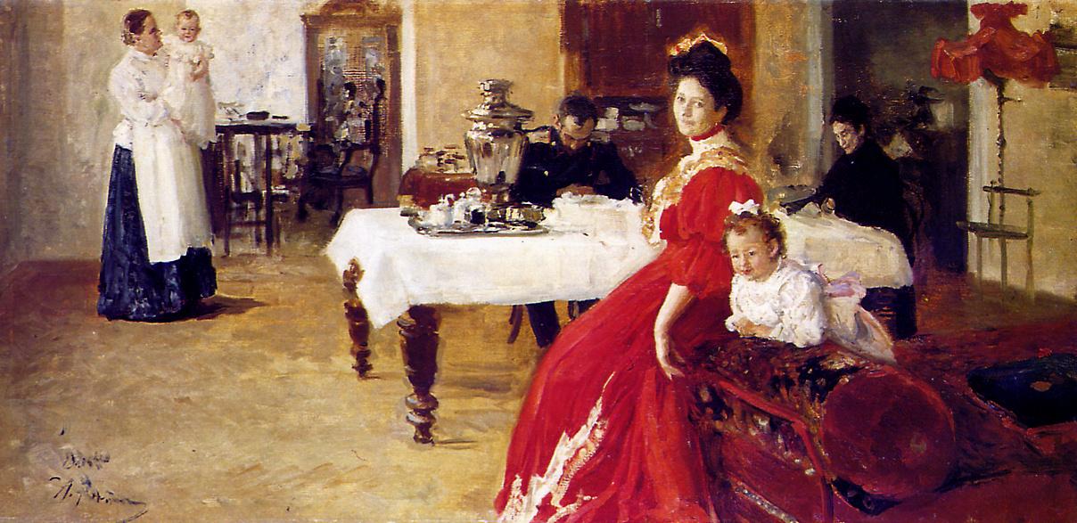 Семейный портрет. Дочь художника Татьяна с семьей 1905, 87.6×179.7 см • Масло, Холст