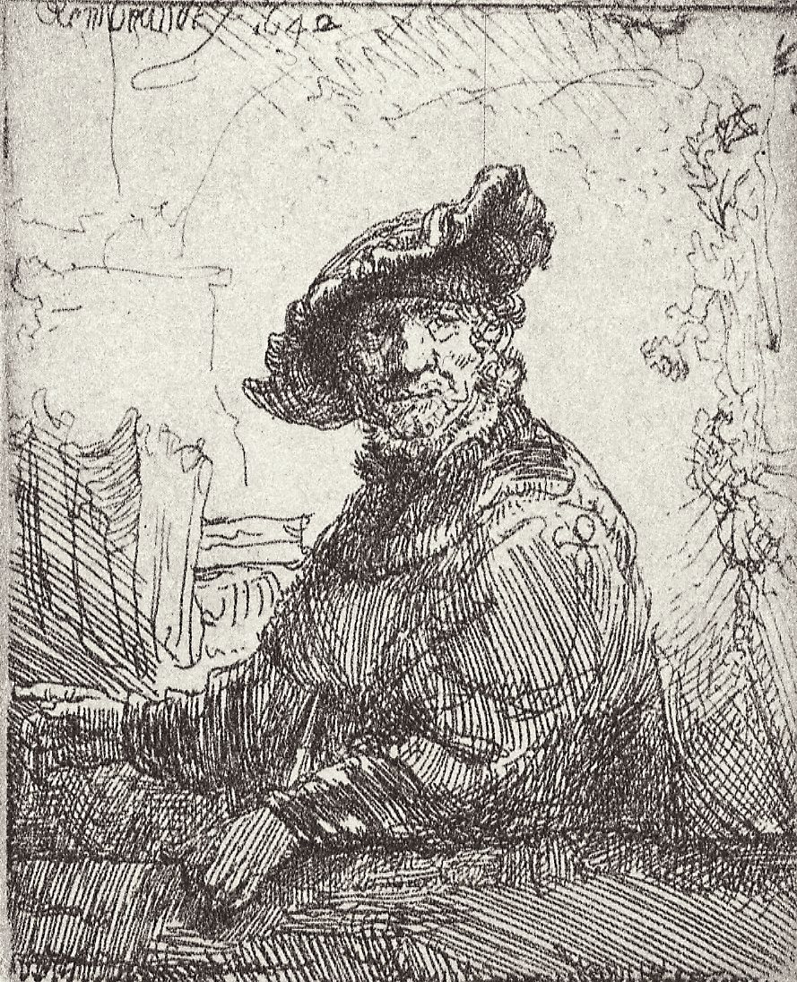 Rembrandt Harmenszoon van Rijn. The old man in the gazebo