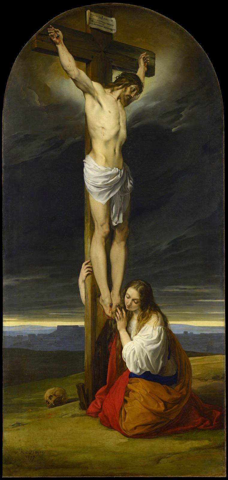 Francesco Ayets. Crucifixion with Mary Magdalene