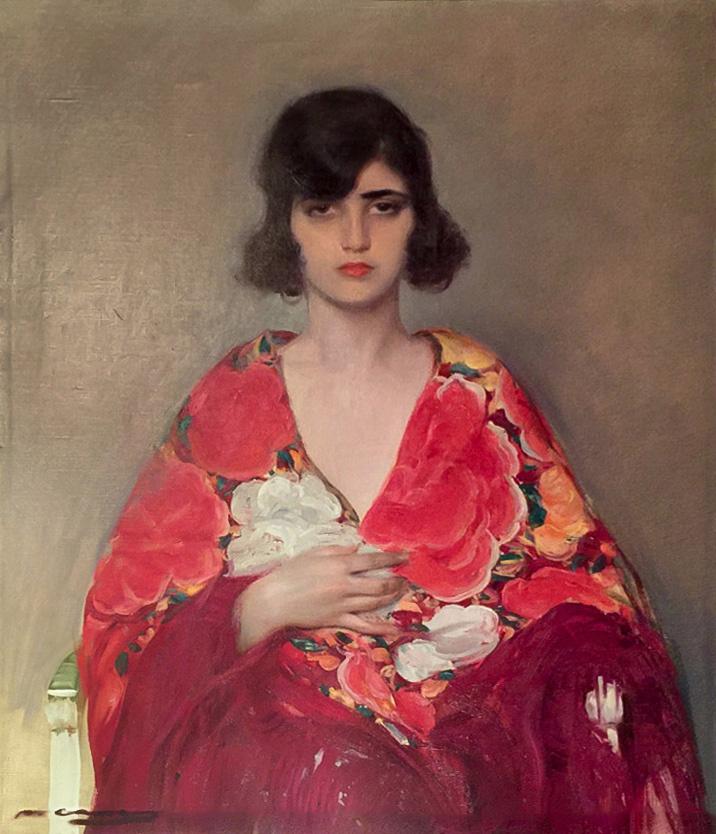 Рамон Касас Карбо. Женский портрет в манере Эль Греко
