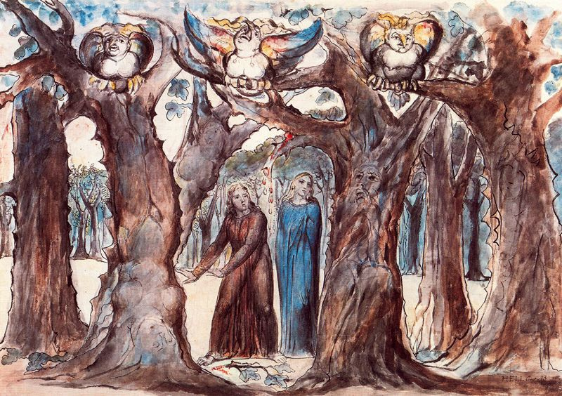 """William Blake. Harpies in the forest of suicides. Illustrations for """"the divine Comedy"""""""