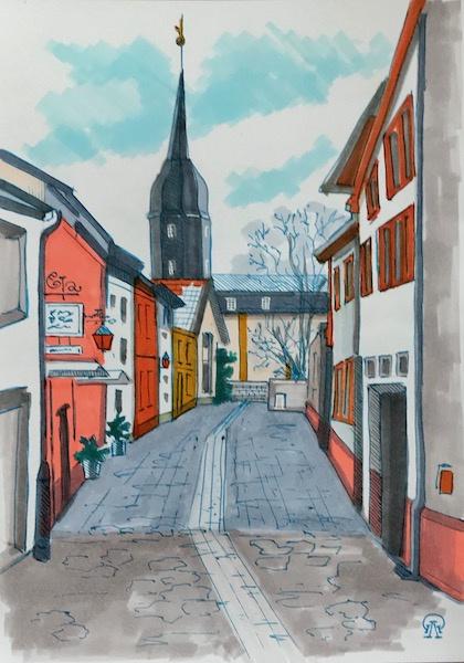 Larissa Lukaneva. Orange windows. Sketch.