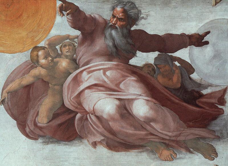 Микеланджело Буонарроти. Потолок Сикстинской капеллы: Создание Солнца и Луны. Фрагмент.