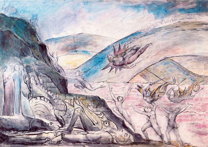 """Уильям Блейк. Демоны, мучающие сводников и обольстителей. Иллюстрации к """"Божественной комедии"""""""