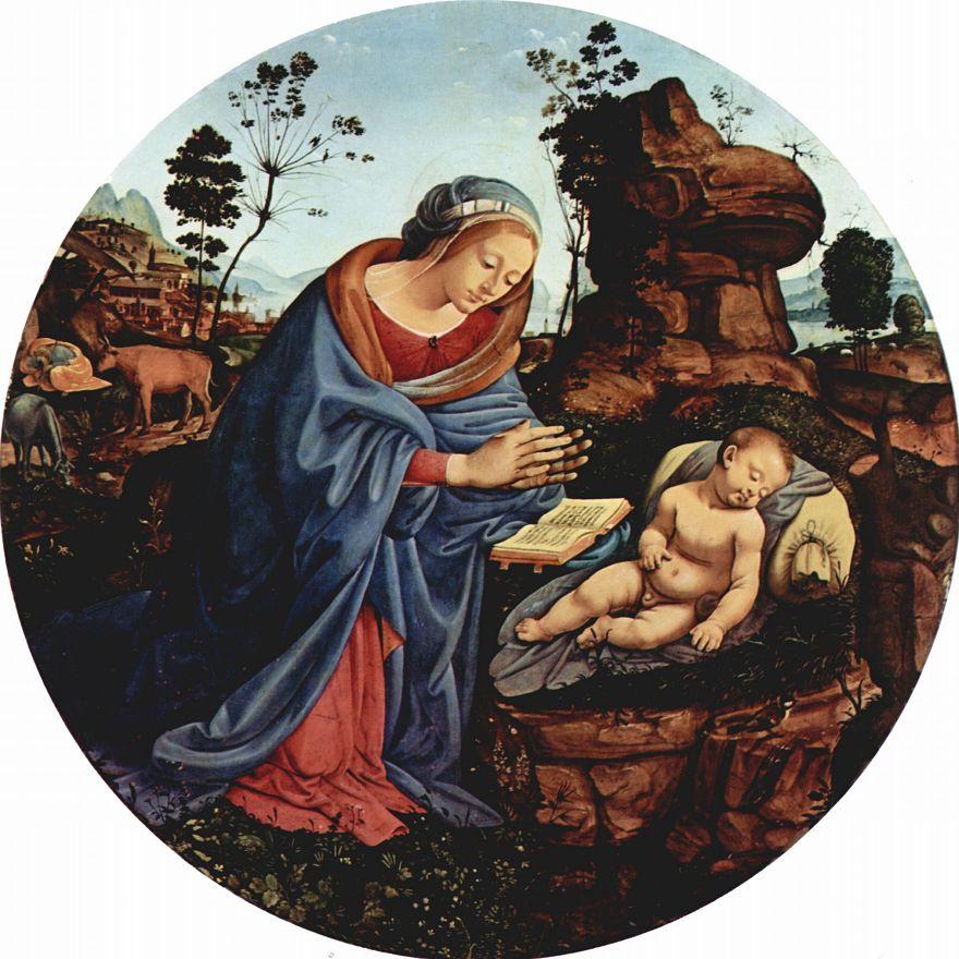 Пьеро ди Козимо. Мария, поклоняющаяся младенцу, тондо