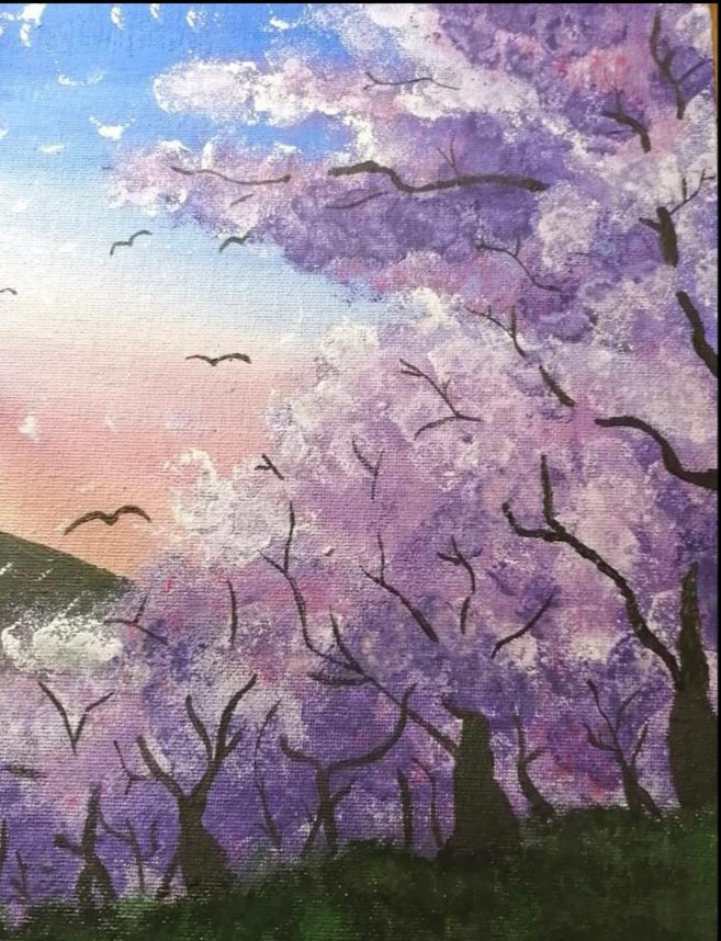 "Victoria Alexandrovna Simakova. The first painting ""Early Sakura Blossom"""