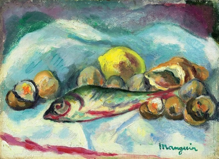 Henri Manguin. Still life with fish and lemon