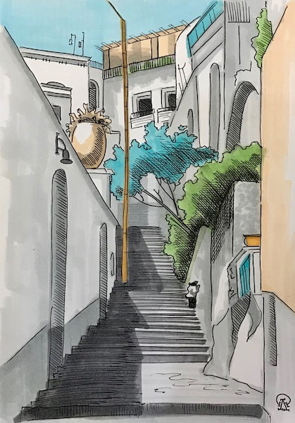 Larissa Lukaneva. Stairs between houses. Sketch.