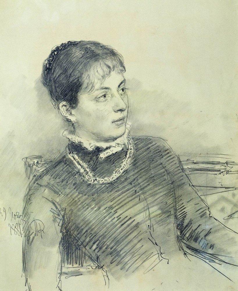 Илья Ефимович Репин. Портрет молодой жены, сидящей на диване