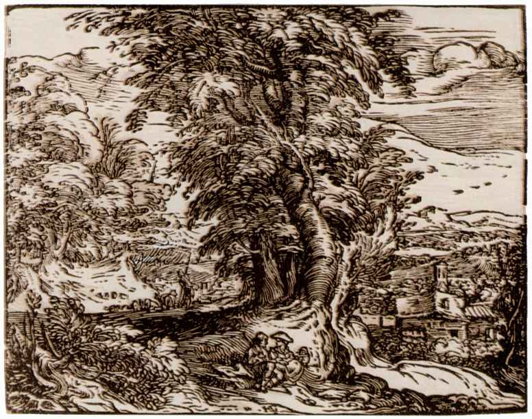 Хендрик Гольциус. Пейзаж с сидящей парой и пастухами