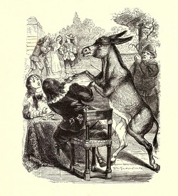 Жан Иньяс Изидор (Жерар) Гранвиль. Осел и Собака. Иллюстрации к басням Жана де Лафонтена