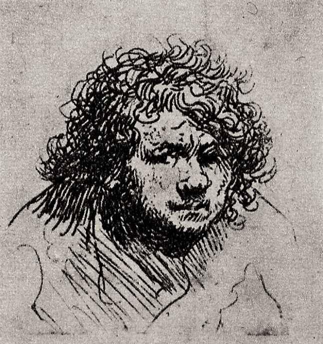 Рембрандт Ван Рейн. Автопортрет с поднятыми плечами