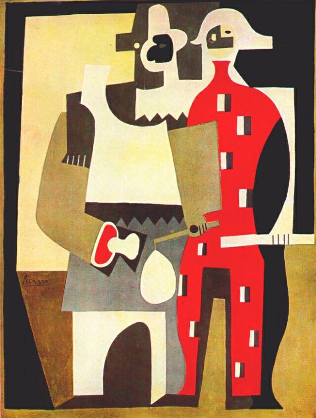 Пабло Пикассо. Пьерро и красный Арлекин