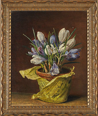 Unknown artist. Still life with crocuses.