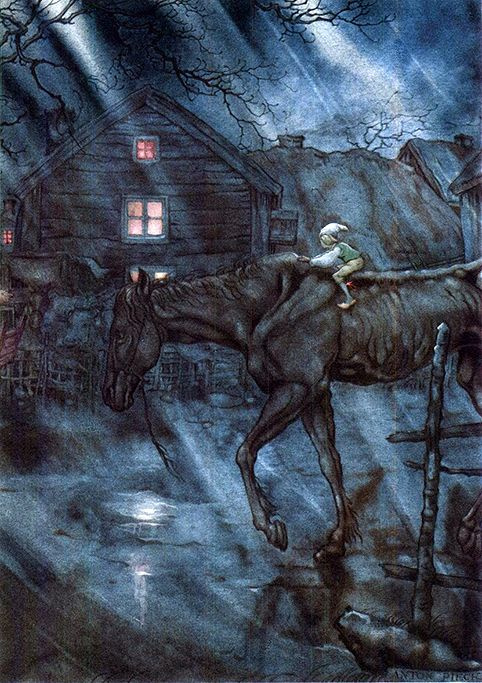 Anton Pieck. Journey of Nils with wild geese. Night return nil