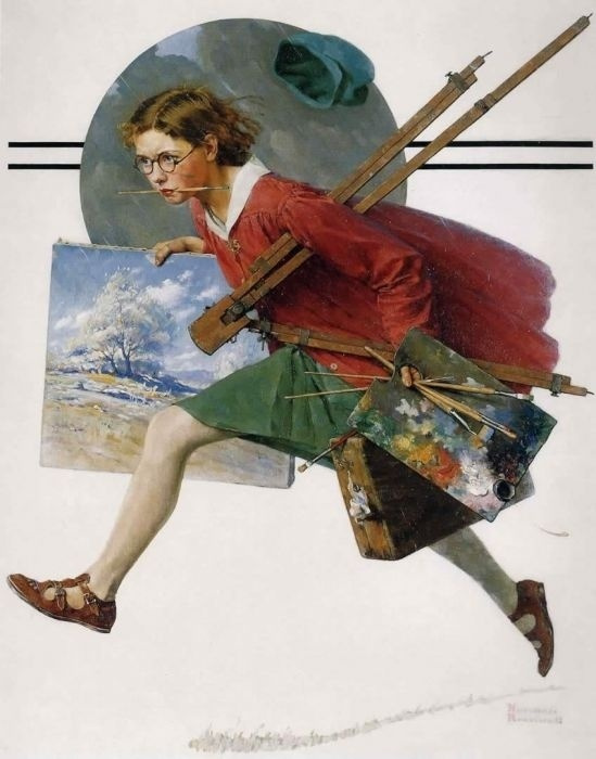 Norman Rockwell. A girl running in the rain with the canvas