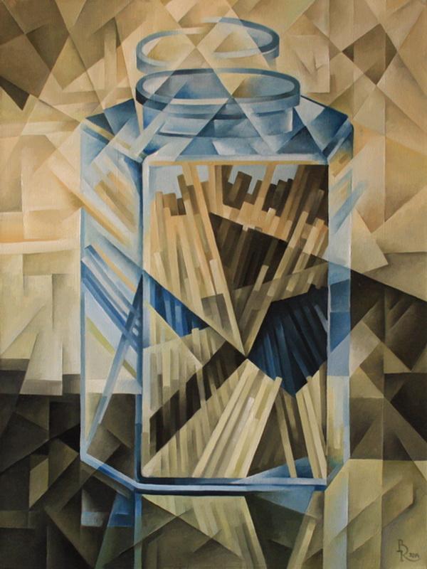 Vasily Krotkov. Pasta in a jar. Kubofuturizm