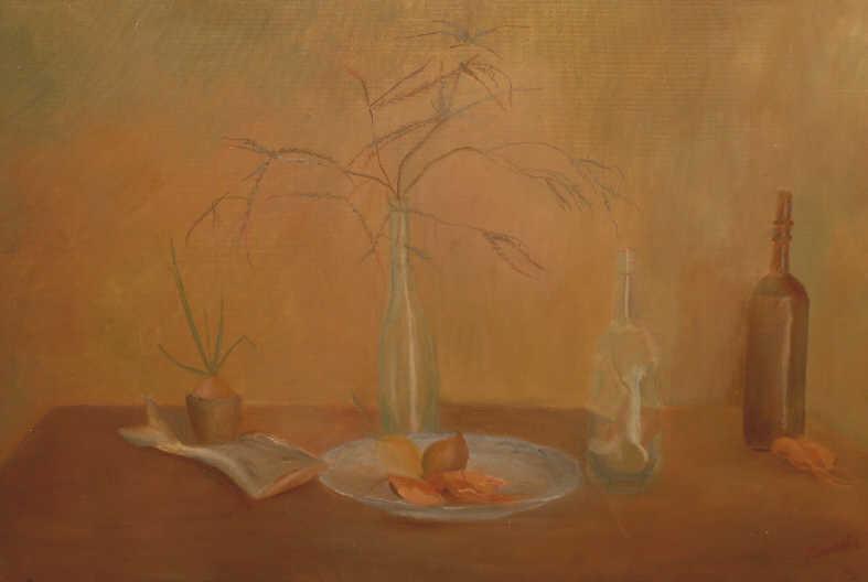 """Galina Petrovna Kulakova. """"Still life with heather twigs"""""""