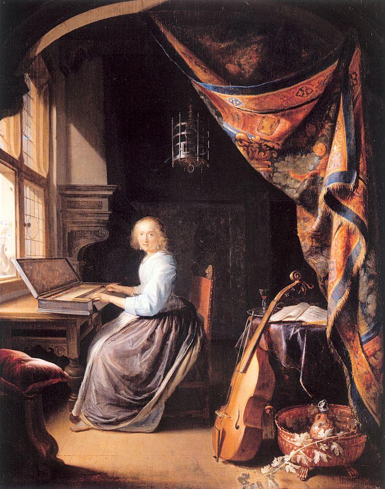 Геррит Доу. Женщина играет на клавесине