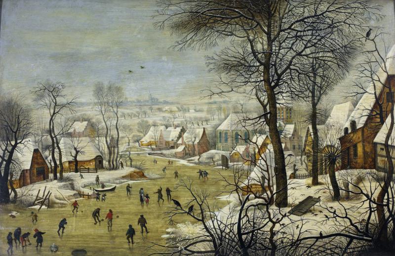 Питер Брейгель Младший. Зимний пейзаж с деревней, катком и ловушкой для птиц