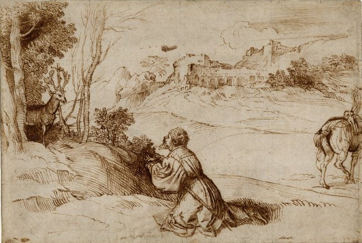Titian Vecelli. Saint Eustace meets a deer in the woods
