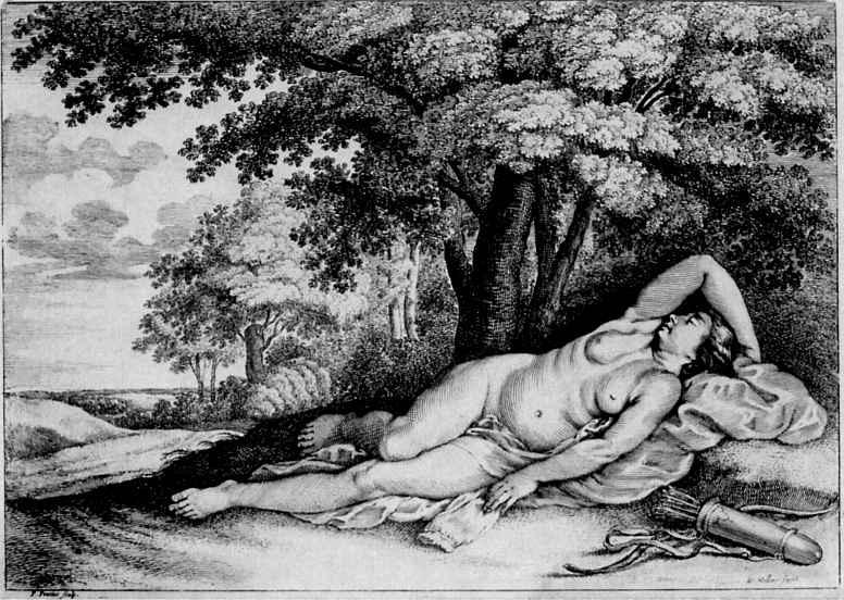 Венцель Холлар. Отдыхающая нимфа из свиты богини Дианы