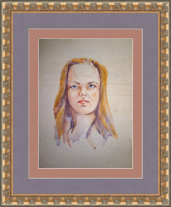 Novikov V.. Portrait of a girl, watercolor 90s