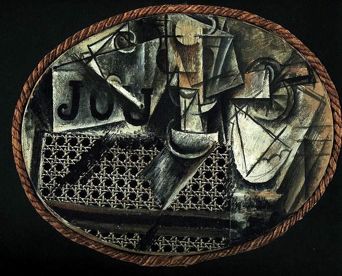 Пабло Пикассо. Натюрморт с плетеным стулом