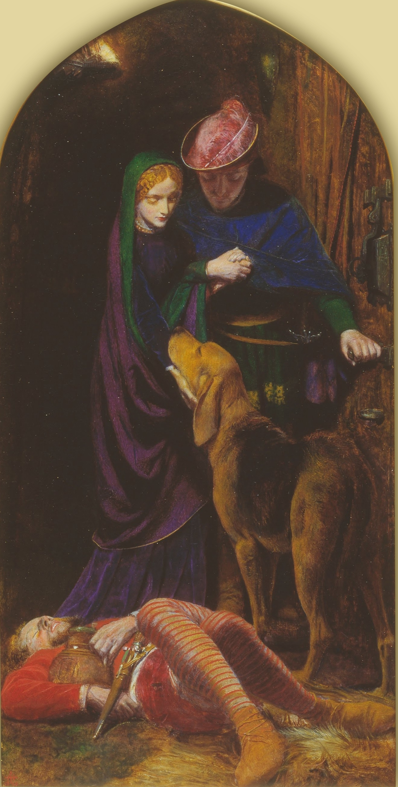 Arthur Hughes. Triptych: Eve of St. Agnes Day. Right panel