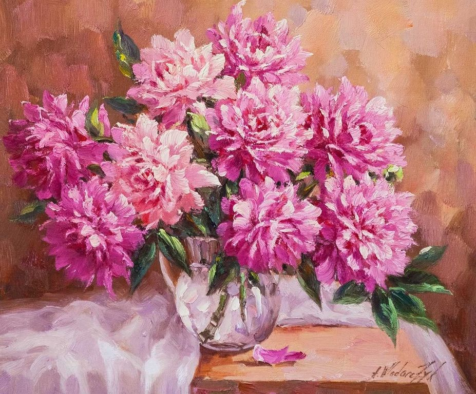 """Andrzej Vlodarczyk. Still life with oil """"Bouquet of peonies on the table"""""""