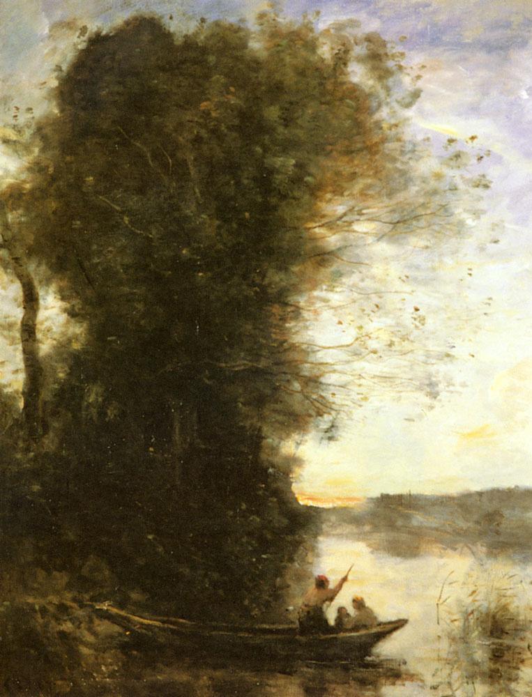 Камиль Коро. Лодочник с женой покидают берег
