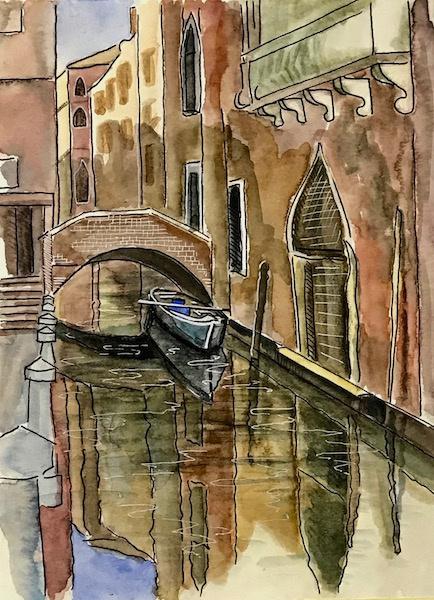 Larissa Lukaneva. Venice. A boat. Sketch.