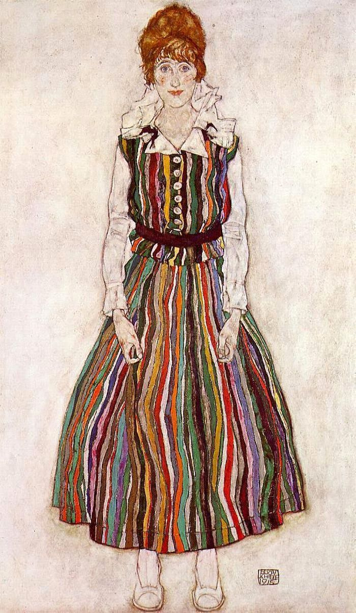 Portrait Of Edith Schiele In A Striped Dress By Egon Schiele